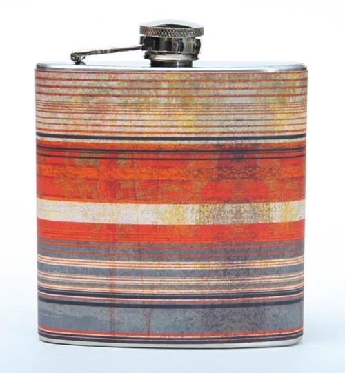 Retro Stripe Flask. Cool rustic orange and grey stripe hip flask. for that adventurer - YourFlask