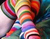 Hand KNITTED COTTON SOCKS - Medium -24 cm - Mismatched One of a Kind.