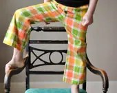 70s Sherbert plaid Trousers, size 5 - salvagehouse