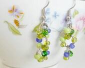 Beaded Earrings- Green, Purple, Silver, Dangle Earrings, Cymbidium Orchid (Hypoallergenic)