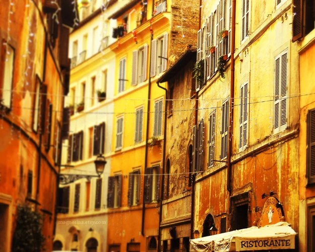 Street in Rome 8x10 (20x25cm) Fine Art Travel Photography - Europe Italy Home Restaurant Cafe Travel Agency Book Cover intensive yellow