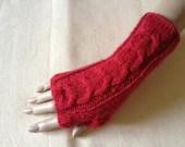 Red Luxury Soft Merino Wool Hand Knitted Fingerless Gloves  Arm Warmers Wrist Warmers Mittens