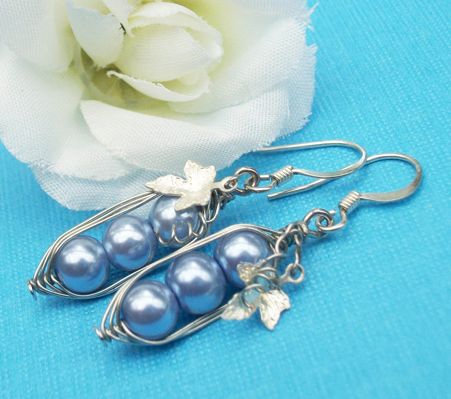 Three Peas In A Pod Silver Earrings You Choose The Color. For Brides,Family,Best Friends,Sisters And Mothers