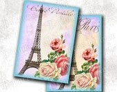 Eiffel tower french blue - Digital Collage Sheet - Printable download - gift tags - Greeting Cards - l9042