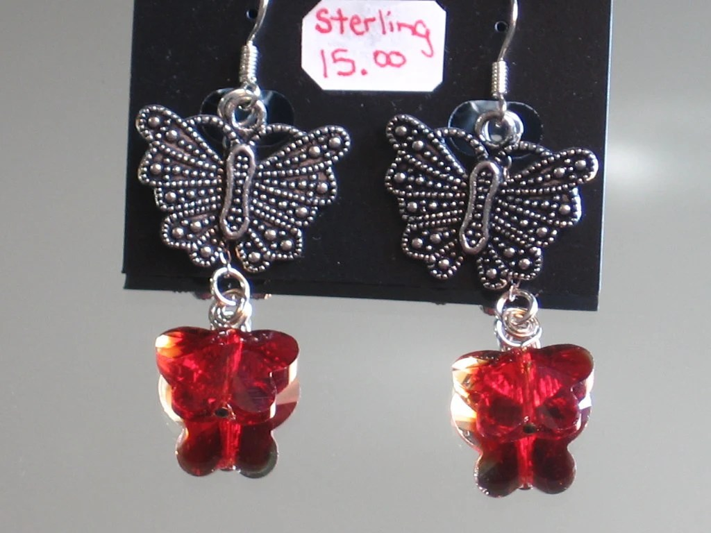 Sterling Silver Red Butterfly Earrings. Cut shimmering red Crystal Butterflies and Tibetan Silver butterflies w Sterling pins