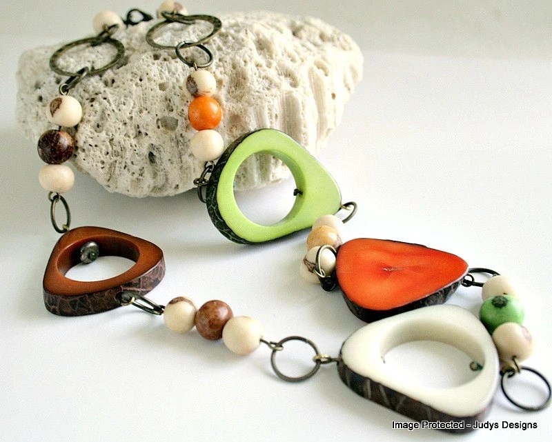 Tribal tagua acai necklace, eco jewelry,  orange, lime, caramel brown, ivory - JudysDesigns