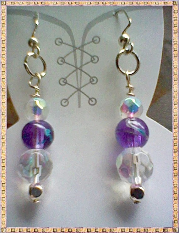 Spring Purple / Teal Striped / AB Rainbow Crystal Dangles