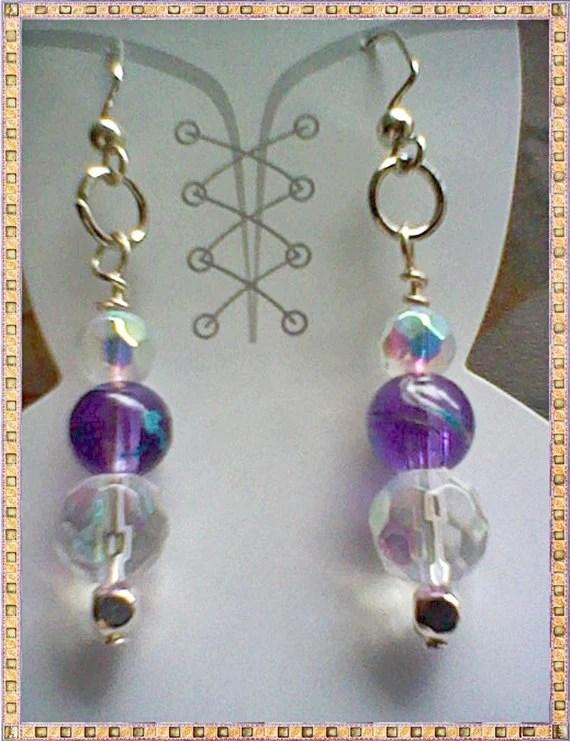 Spring Purple / Teal Striped / AB Rainbow Crystal Dangles