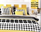 Customizable Queen Size White Grey Black and Yellow Geometric Round Dots Design Printed Bedding Set Mothers Day gift Idea For Mom - MyveraLinen