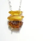 Baltic amber necklace minimalistic simple natural raw amber jewelry handmade in Israel - LenaMer