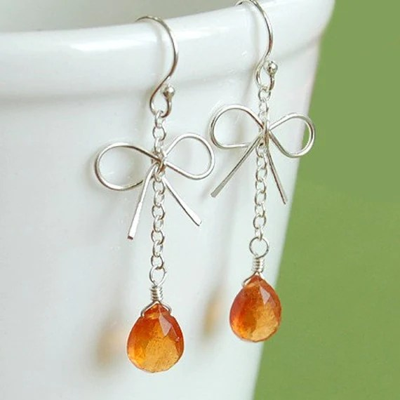 Tiny Silver Bow and Orange Garnet Drop Earrings