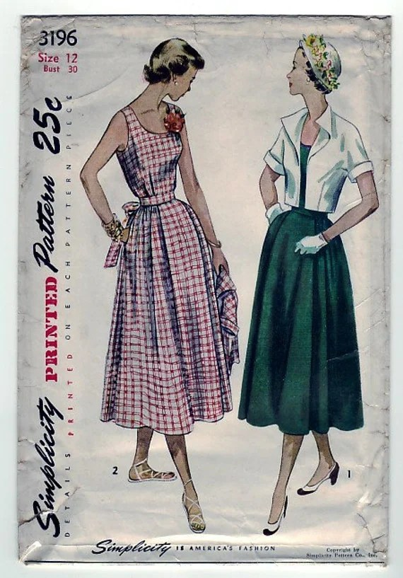 FREE SHIPPING Vintage 1950 Simplicity 3196 Sewing Pattern Maternity Dress and Bolero in Misses Size 12 Bust 30