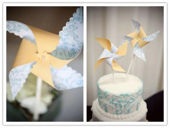 Pinwheel Cake Topper - Custom Printed Spinning - Hundreds of Paper Options - Set of 3 - 1 handheld, 2 sm handheld