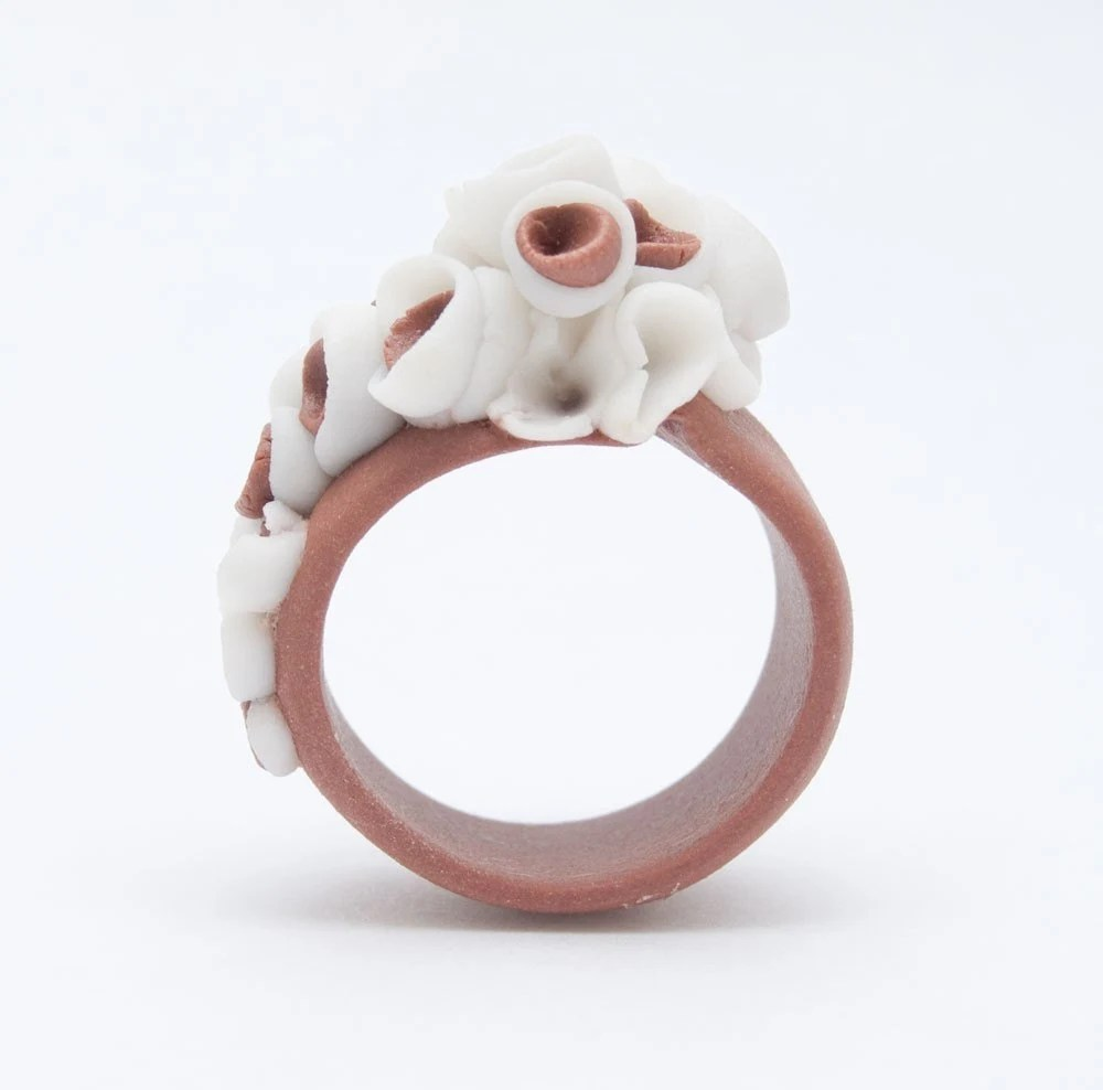 Martinique Porcelain Ring Coral Brown One Of a Kind