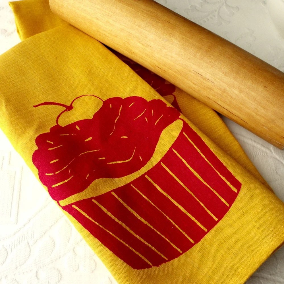 Single Linen Dishtowel- Yellow with Red Cupcake. Screen Printed Kitchen Accessories from Curry Kay Designs on Etsy