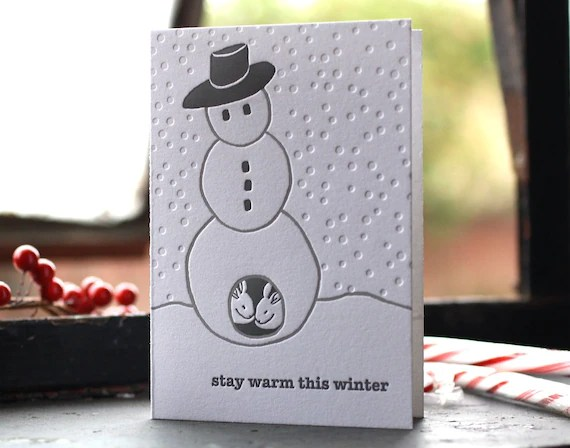 Snowman Letterpress Holiday Cards (Box of 12)