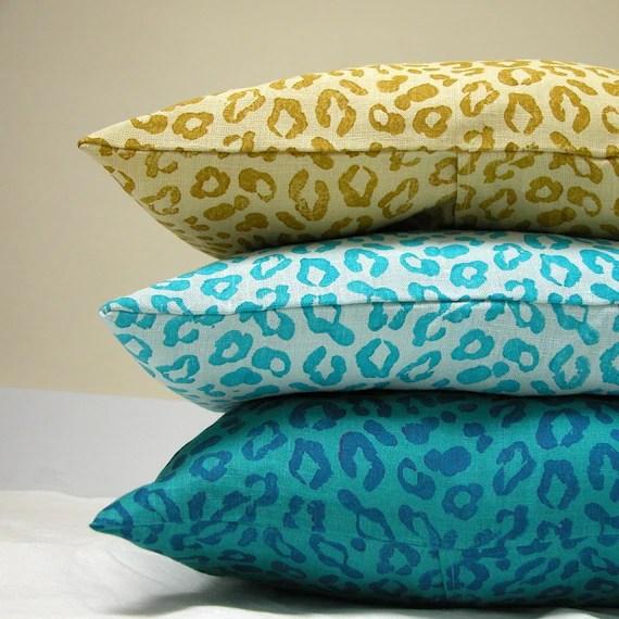 Leopard Peacock lumbar pillow cases set of three