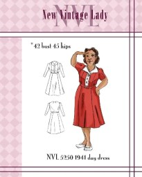 NVL 1940s Day Dress 42 bust PLUS SIZE
