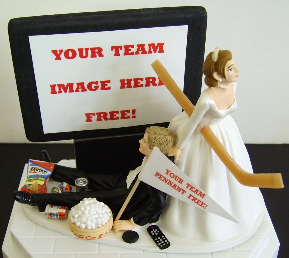 HOCKEY 'couch potato' GROOM. PERFECT Customized Wedding Cake Topper