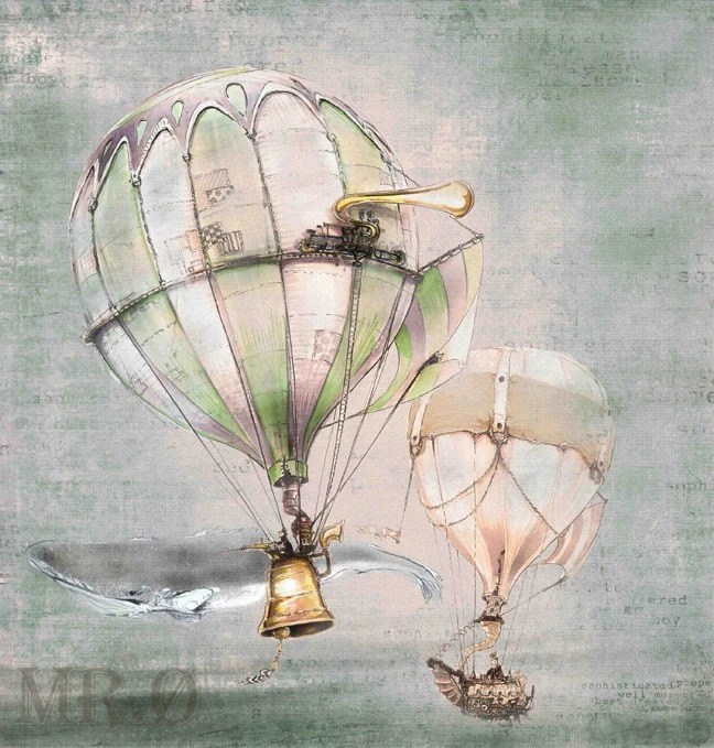 Steampunk Hot Air Balloon Print by theFiligree