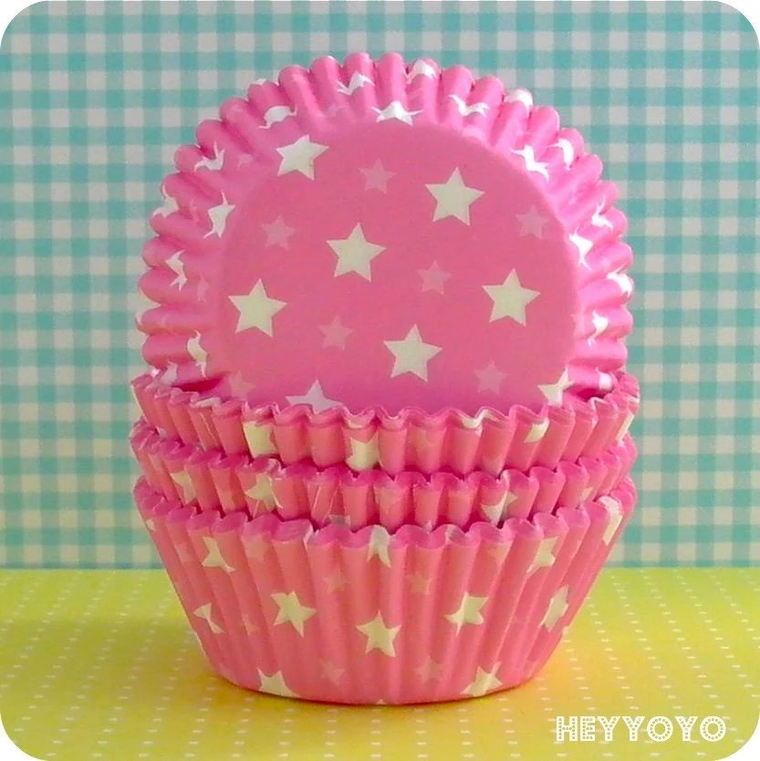 50 Pink Star Cupcake Liners