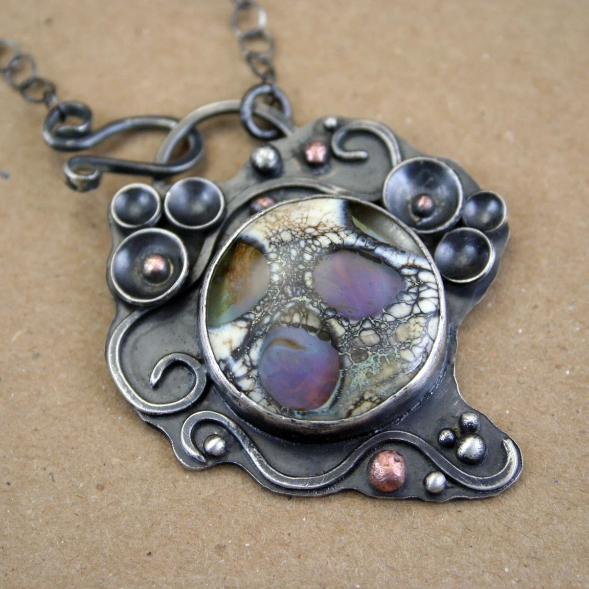 RESERVED-MIDNIGHTS BLOOM - Handmade Sterling, Copper & Art Glass Lampwork Cabochon Pendant Necklace