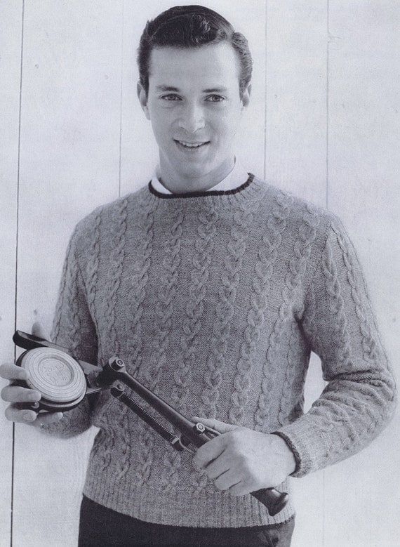 PDF of Mens Cabled Crew-Neck Sweater Knitting Pattern, 1950s