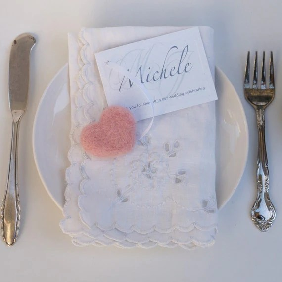 Wedding - 10 Felted Heart Place Cards - Romantic Soft Wooly Name Place Seating Cards