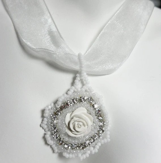White Rose Pendant Necklace - $11.95