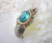 Vintage CORO PEGASUS Blue Crystal Expansion Bracelet - 1940 - WWII Era
