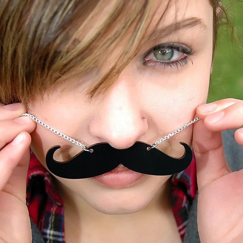 Mustache Necklace - Black Acrylic Stash - 18 Inch Chain with Clasp