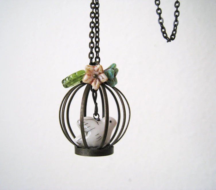 Whimsy Bird Cage Necklace