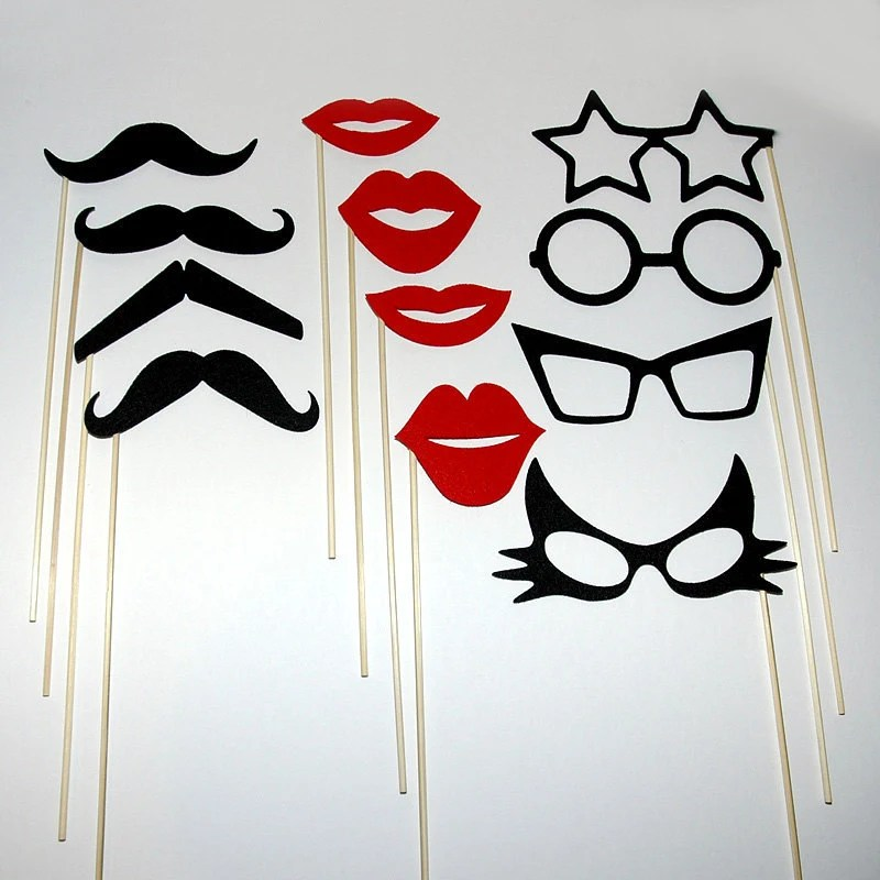 Mustache Lips And Eye Glasses on a stick - Photo Booth Mask Prop  12 Piece Set for Wedding Parties or Just for Fun - Black and Red Felt