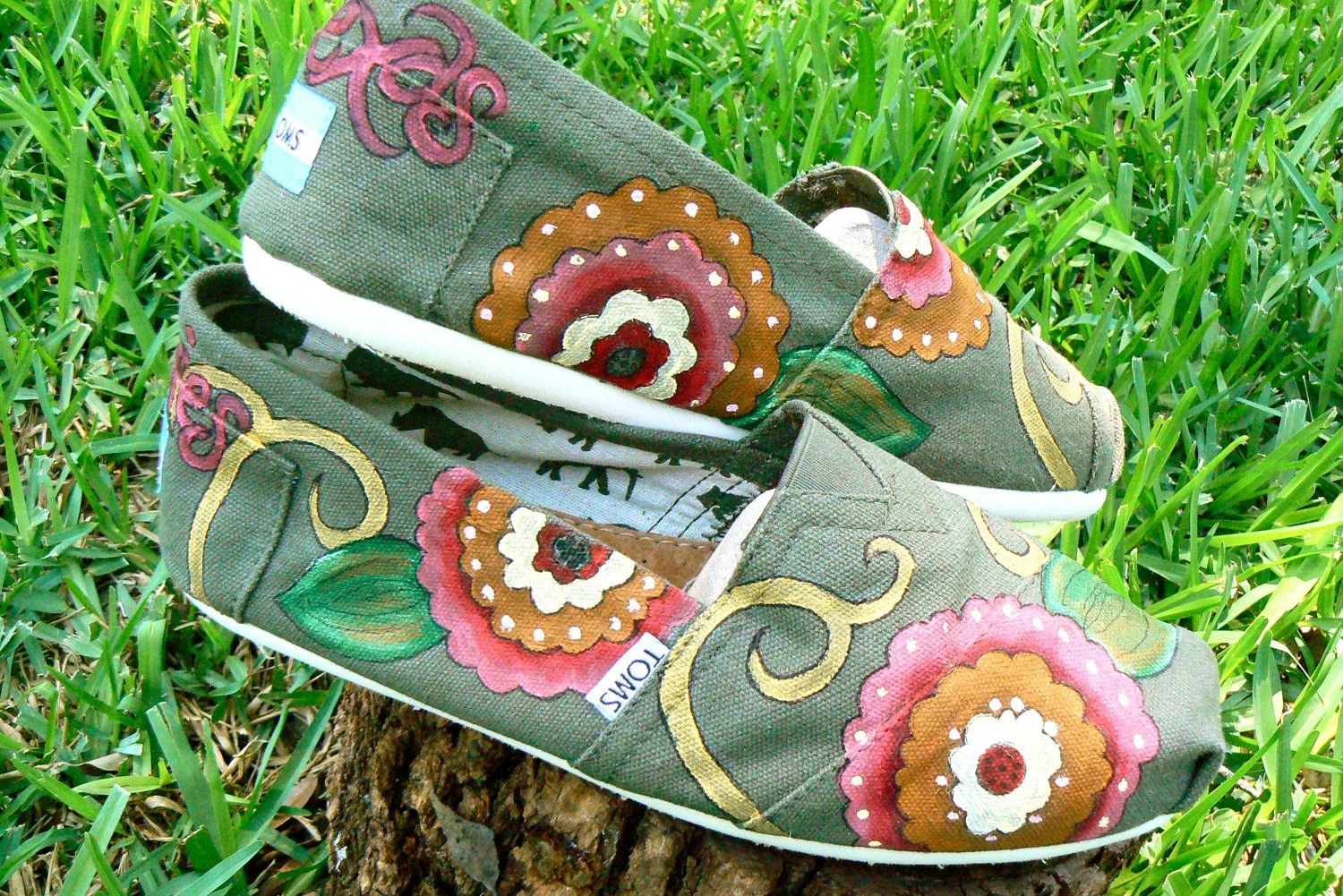 Custom Hand Painted TOMS shoes, bright  Bohemian floral design