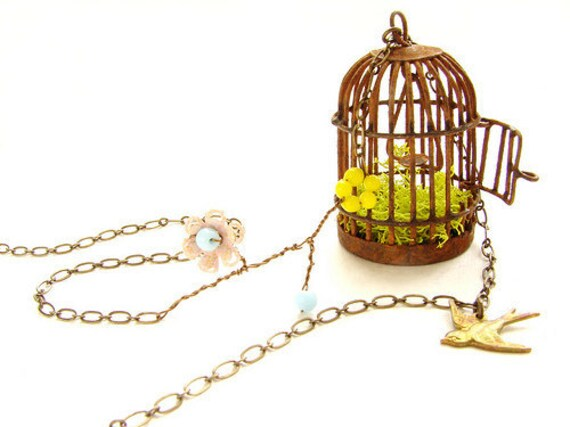Rustic Bird Cage necklace, vintage glass beaded flower, flying bird necklace
