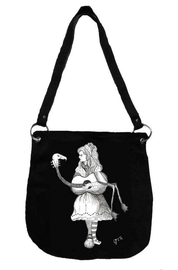 Alice in Wonderland Messenger Bag- Alice's Flamingo Guitar, Tim Burton Inspired, proceeds to Alzheimer's Association