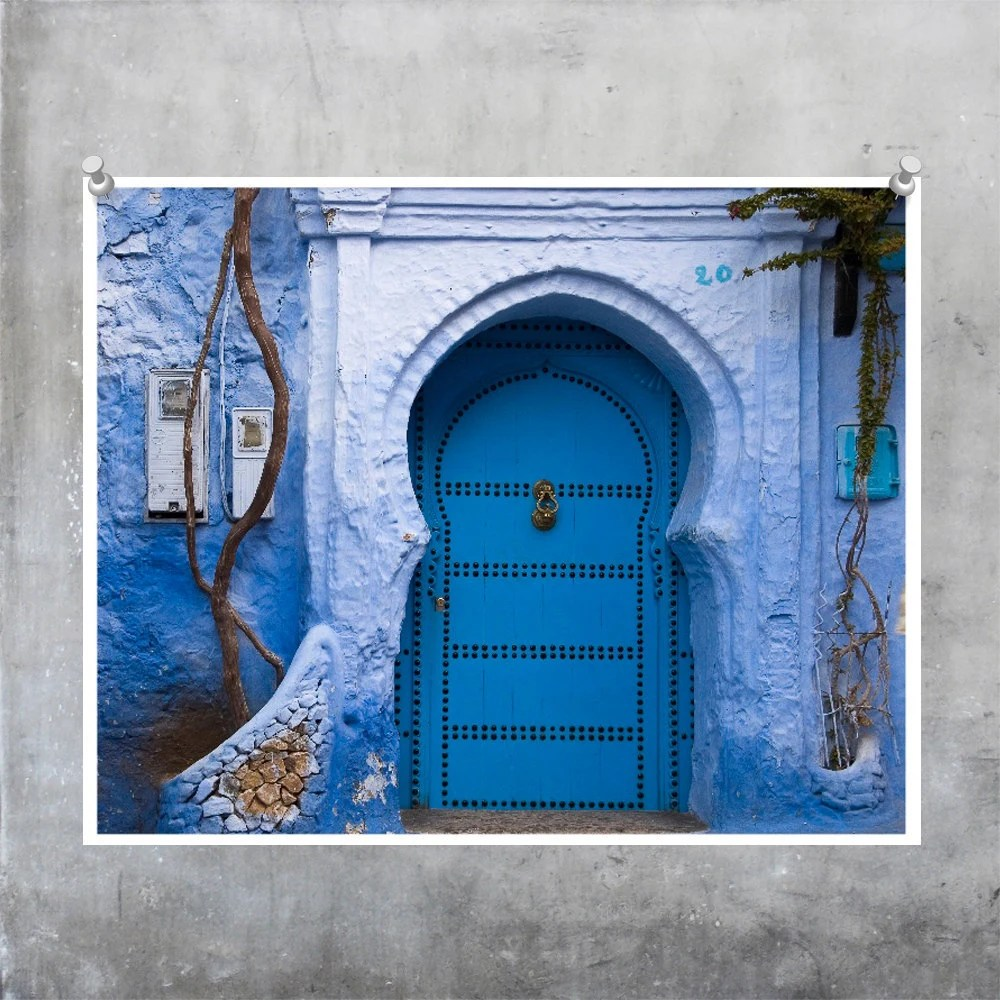 Decorative blue painted front door of a Moroccan house - 10x8inch Fine Art Photo Print North Africa
