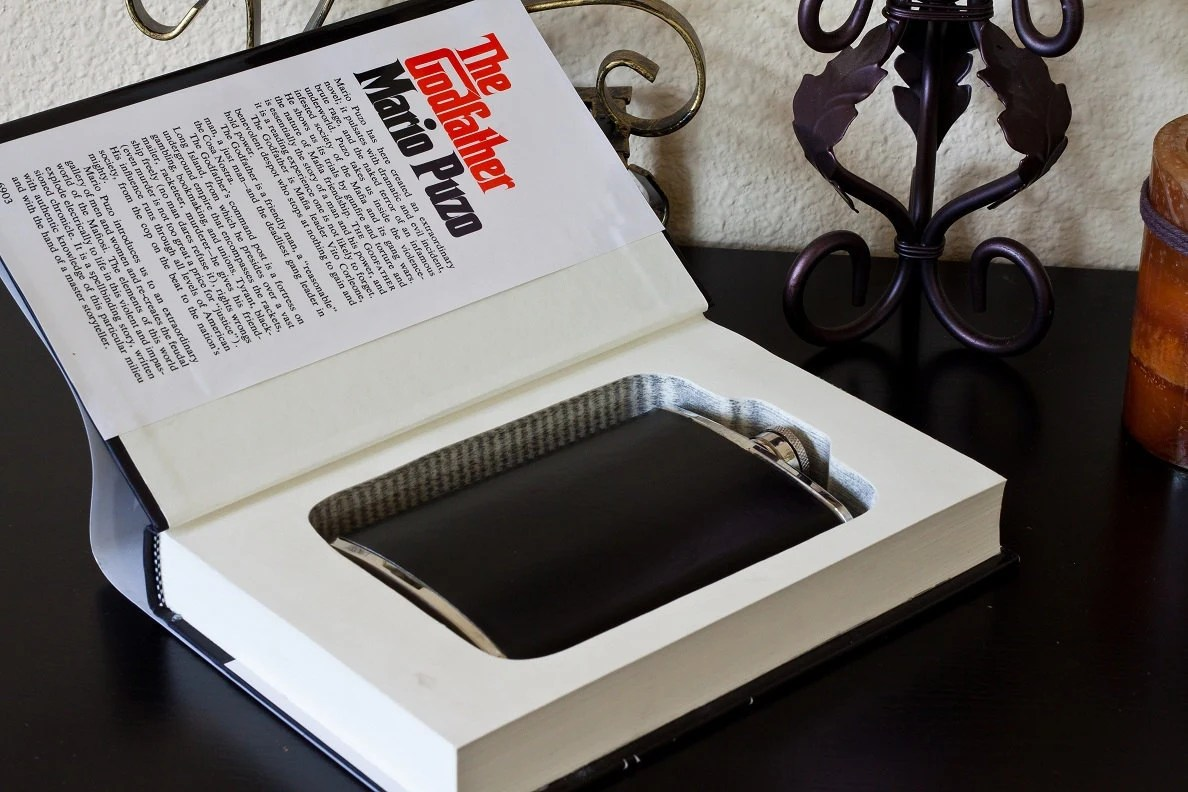 Hollow Book Safe & Flask - The Godfather