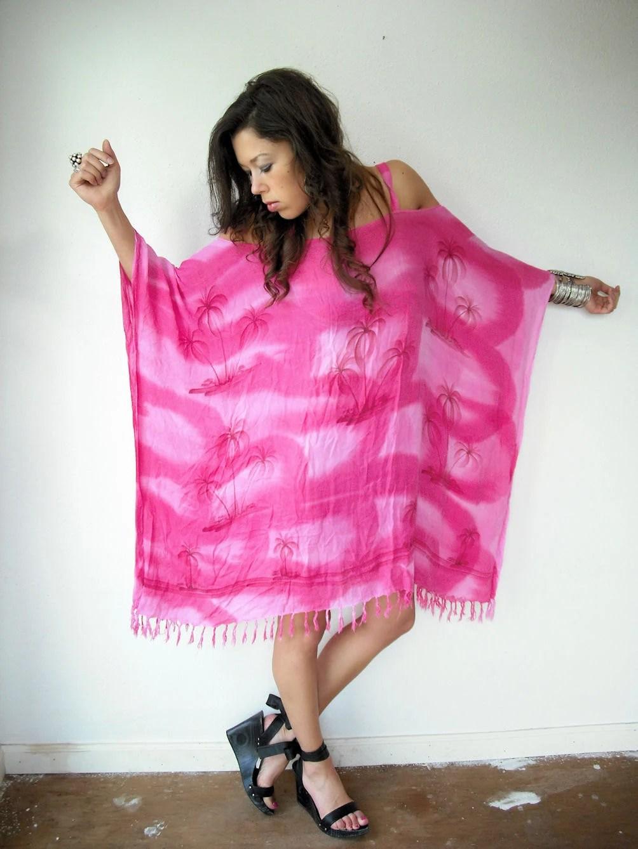 Vintage Pink Gauze Hawaiian Palm Tree BARE OFF SHOULDER Caftan Fringe Festival Dress
