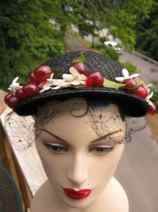 Delicious Vintage Rare 1940s Bakelite Cherry Blossom Sunday Hat with Veil