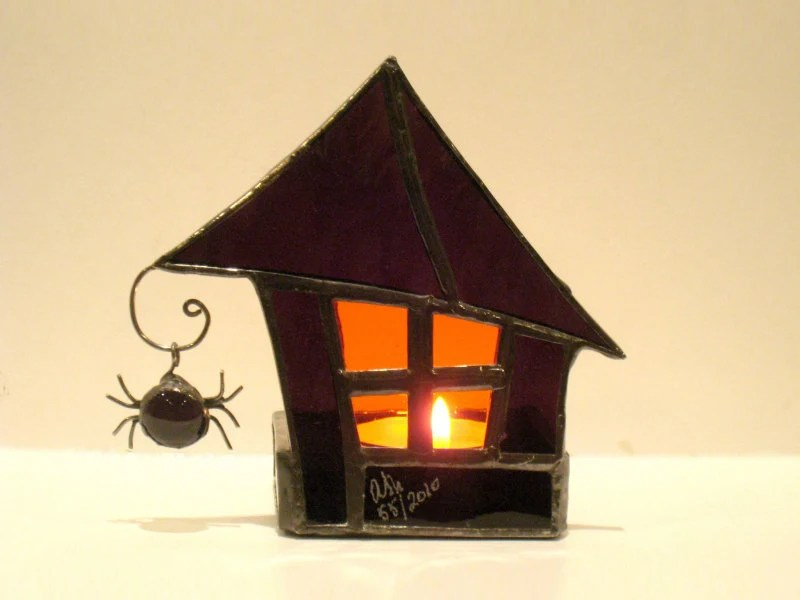 Halloween Stained Glass Candle Holder Spooky Haunted House Purple Orange 2 Handmade OOAK