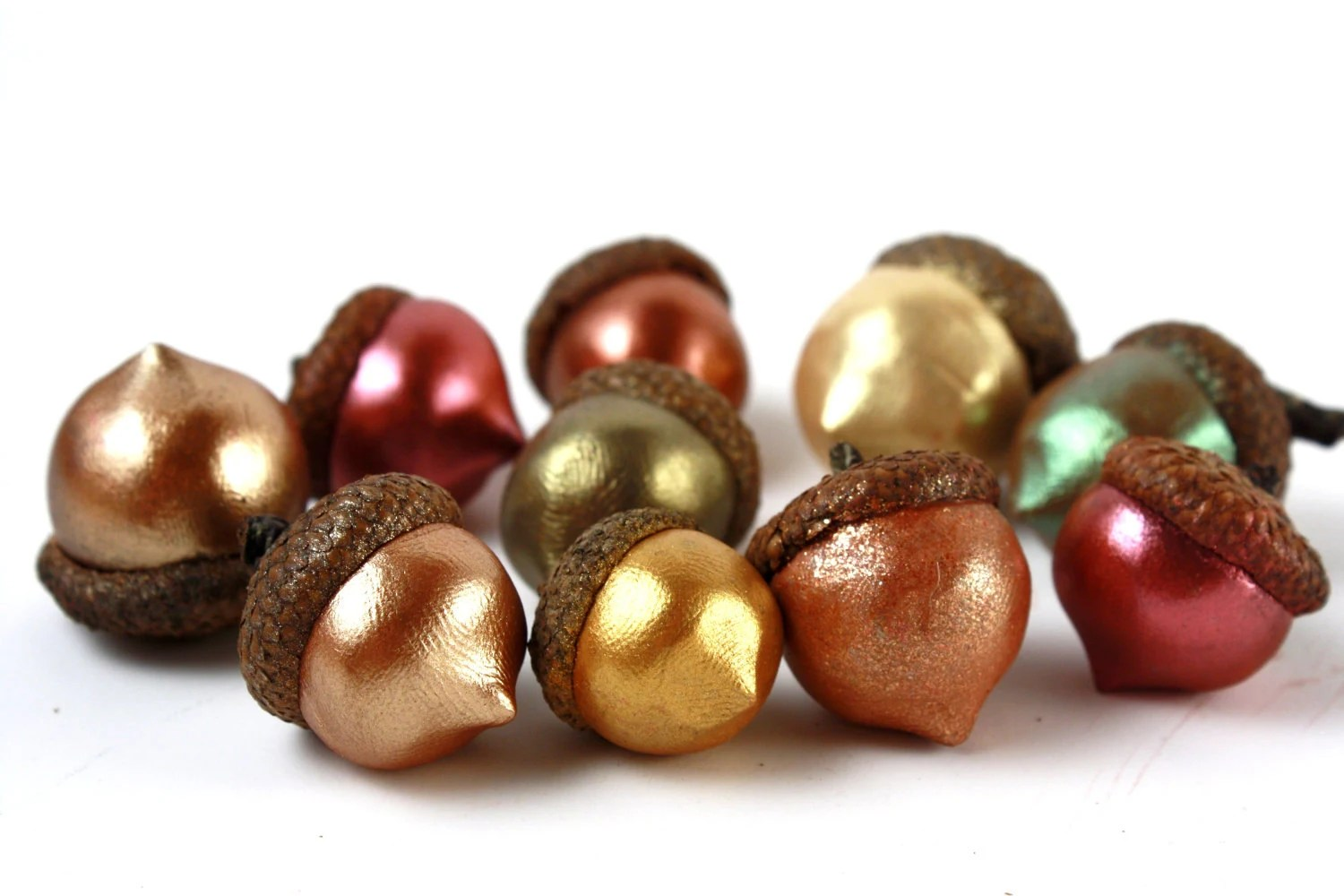 Set of 10 Sculpted Shimmer Acorns with Natural Caps in Autumn Colors - made to order