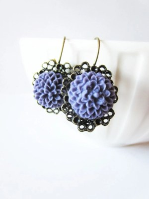 Blueberry mum and brass lace dangle earrings