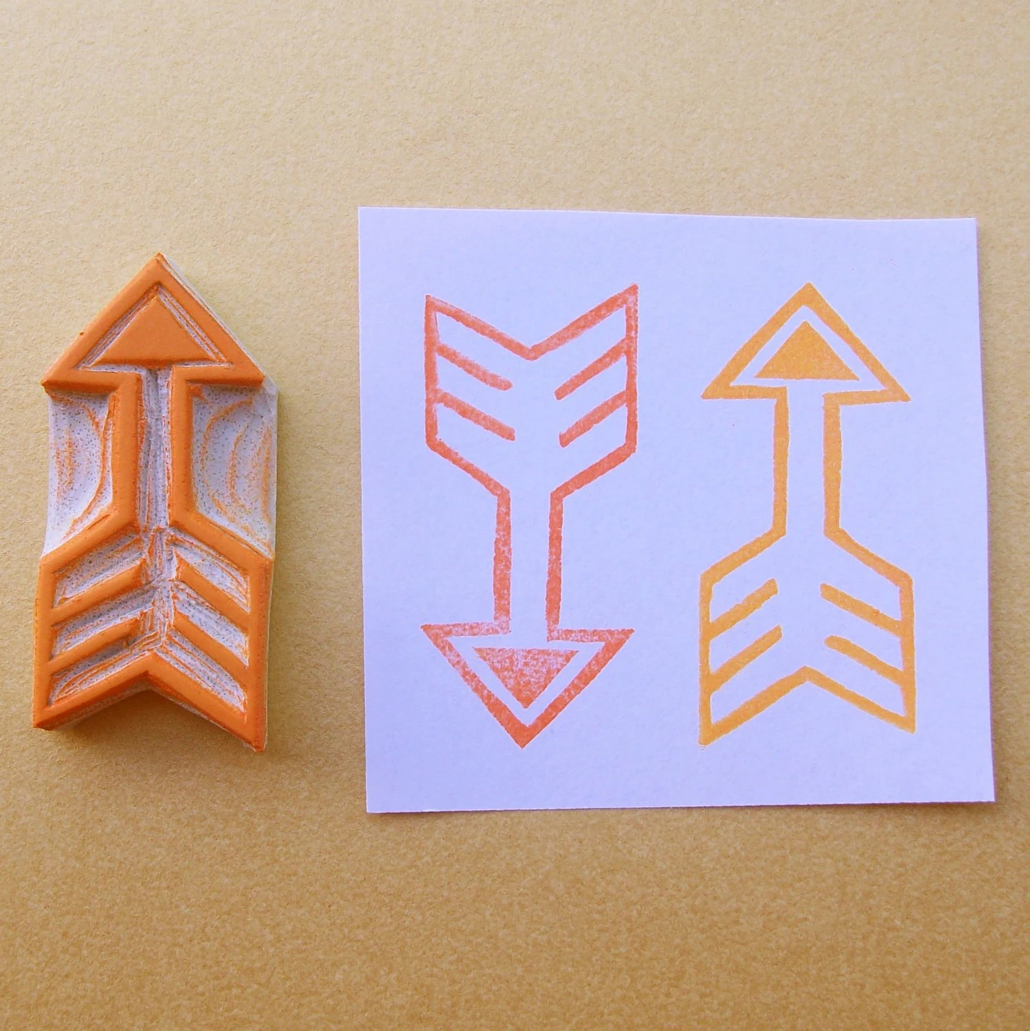 Tribal Chevron Arrow 2 Hand Carved Stamp