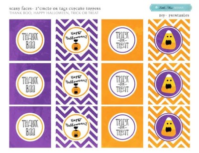 DIY Printable- Cupcake Toppers/tags- Halloween- Scary Faces-