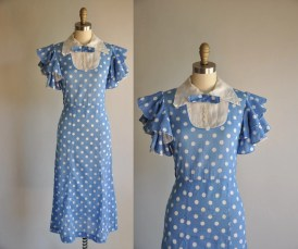 vintage 1930s 30s dress // 30s rare cotton dress // Dust Bowl