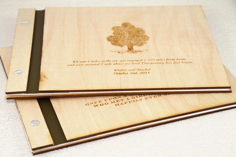 Custom Wedding WOOD Guest Book - Story Book