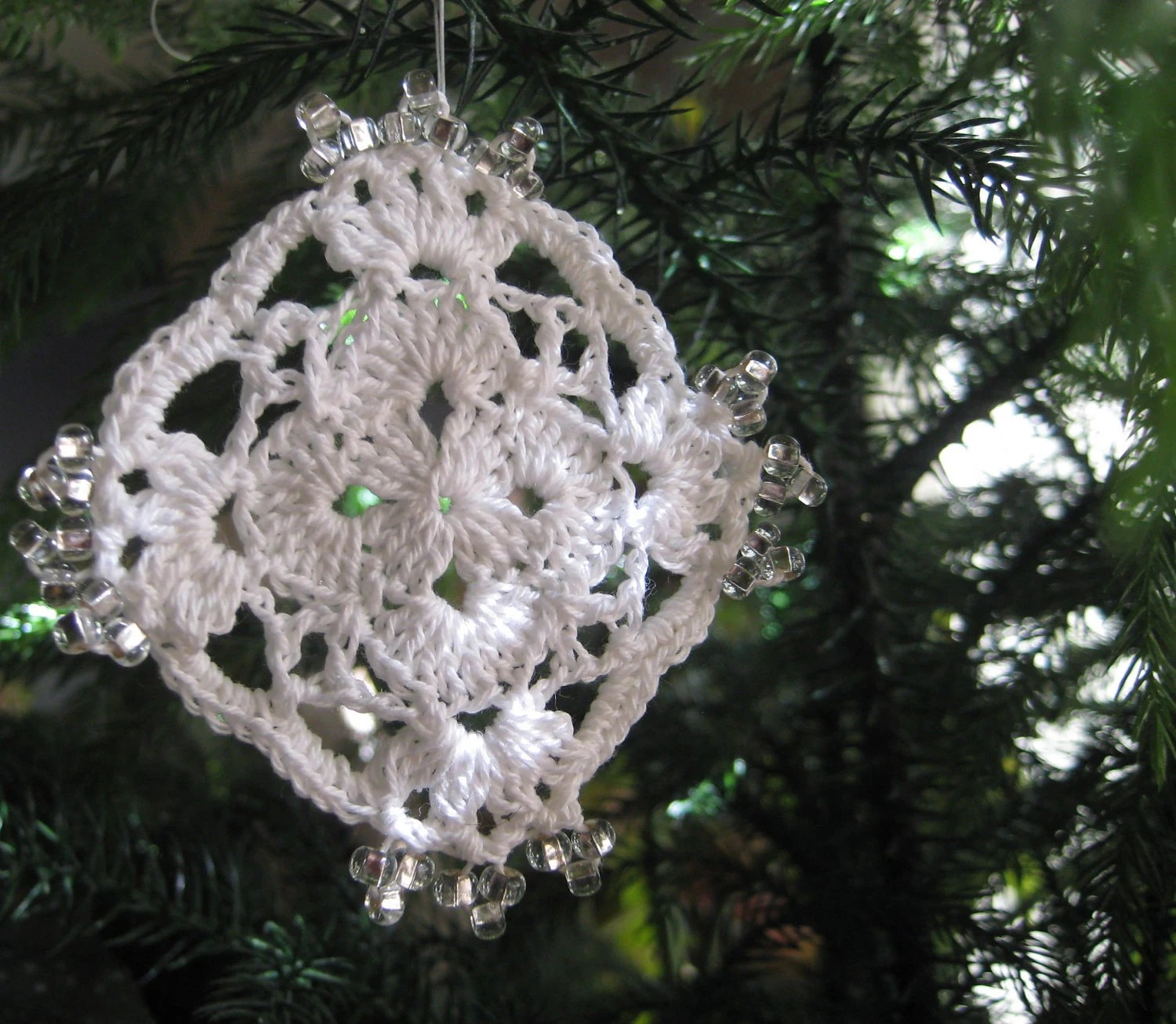 Set of Three Beaded Crochet Lace Ornaments