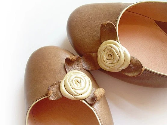 Leather Ballerina Shoe with Leather Roses - Handmade - Unique -100% Genuine Leather - Brown & Ecru