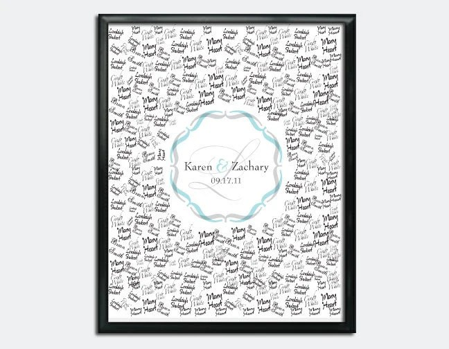 """Custom Wedding Guestbook Poster - Printable - 16"""" x 20"""" - Personalized - Custom Colors"""